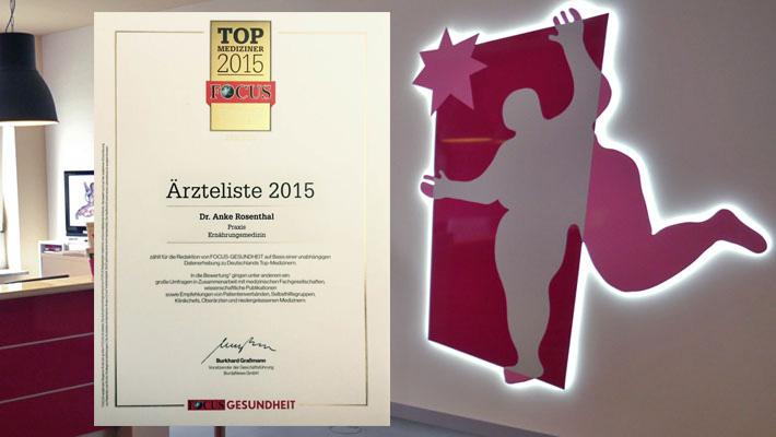 Auszeichnung der Focus-Redaktion als Top-Mediziner im Bereich Ernährungsmedizin