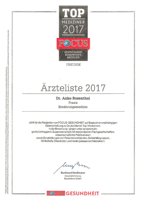 Auszeichnung der Focus-Redaktion als Top-Mediziner im Bereich Ernährungsmedizin 2017